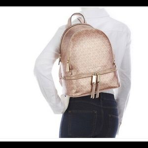 Michael Kors Rose Gold Rhea Backpack